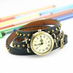 Sort ur med læderrem