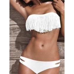 Hvid frynse bikini