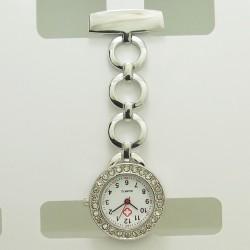 Sølv lænke ur med sten