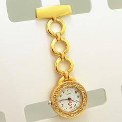 Guld lænke ur med sten