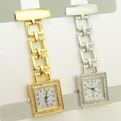 Guld lænke ur med sten - Firkant