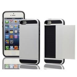 Sølv cover med plads til kreditkort til iPhone 5, 5S, SE