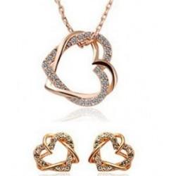 Smykkesæt hjerte - guld