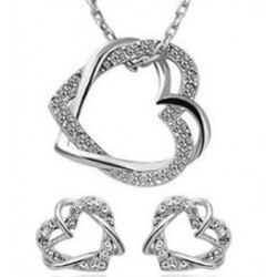 Smykkesæt hjerte - sølv