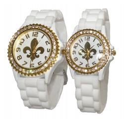 Hvid fransk lilje silikone ur med guld