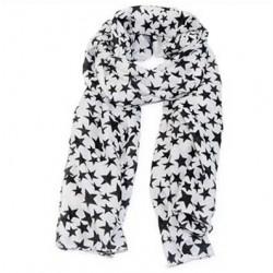 Tørklæde hvid med sorte stjerner