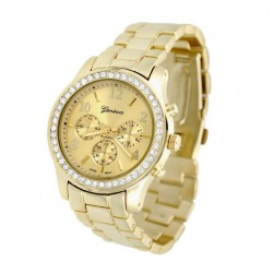 Geneva ur med stålrem og similisten - guld