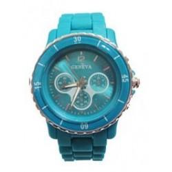 grøn-blå plastik ur med mange detaljer