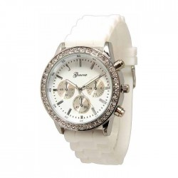 Hvid silikone ur med sølv,similisten og dekorationsskiver/knapper