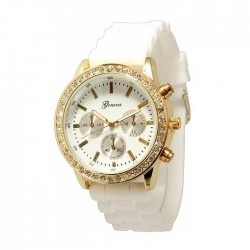 Hvid silikone ur med guld,similisten og dekorationsskiver/knapper
