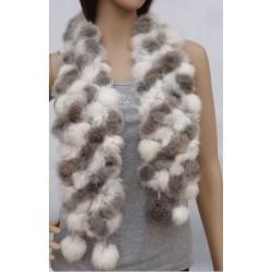 Kanin halstørklæde - hvid/brun