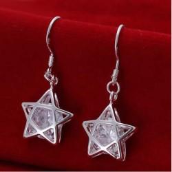 Sølv øreringe med stjerne og stor sten