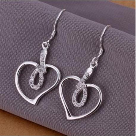 Sølv øreringe med tyndt hjerte og sten