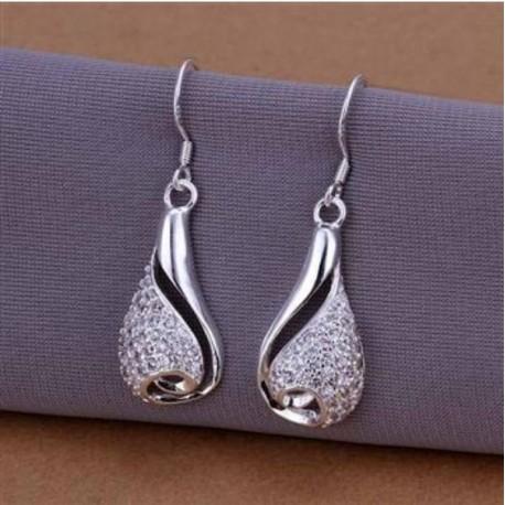 Sølv øreringe dråbe formet