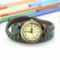 Grøn ur med læderrem
