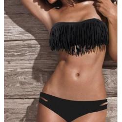 Sort frynse bikini