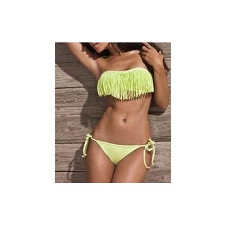 Gul frynse bikini