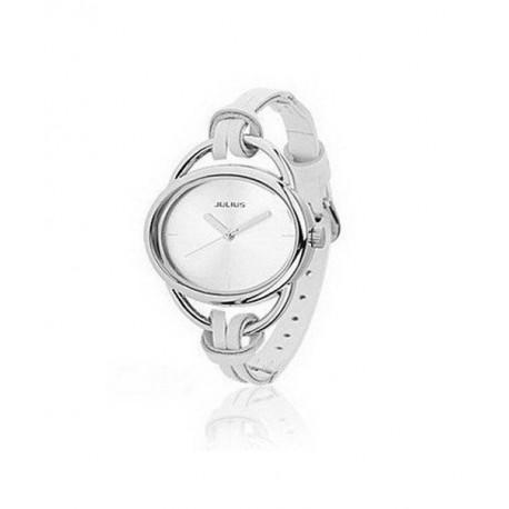 Elegant hvid ur med læderrem