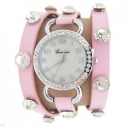 Læderremsur med sten - Pink