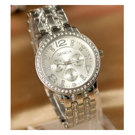 Geneva rosa sølv ur med similisten