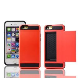 Rød cover med plads til kreditkort til iPhone 5, 5S, SE