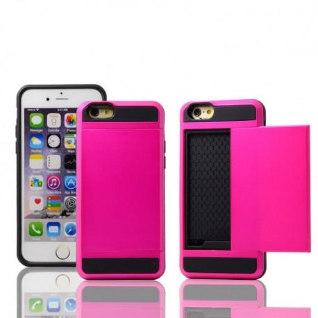 Pink cover med plads til kreditkort til iPhone 5, 5S, SE