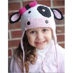 Hæklet ko hue til børn