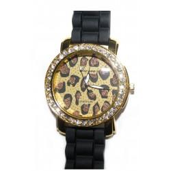 Sort silikone ur med leopard og guld