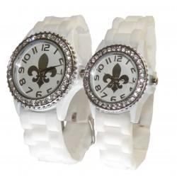 Hvid fransk lilje silikone ur med sølv