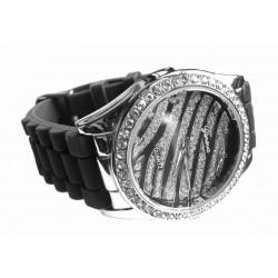 Sort silikone ur med zebra