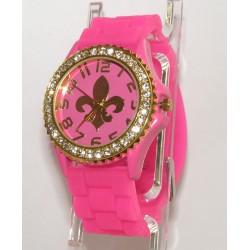 Pink fransk lilje silikone ur med guld