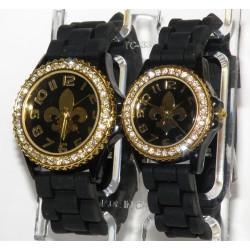 Sort fransk lilje silikone ur med guld