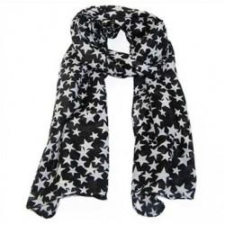 Tørklæde sort med hvide stjerner