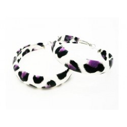 Flotte lilla lucite øreringe med leopard print