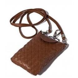 Lækker flettet brun læder mobiltaske