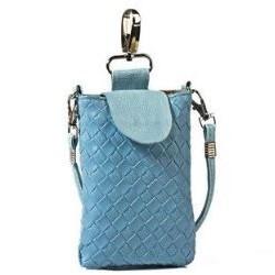 Lækker flettet blå læder mobiltaske