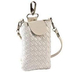 Lækker flettet hvid læder mobiltaske