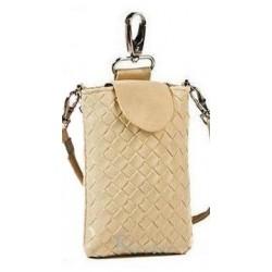Lækker flettet sand farvet læder mobiltaske