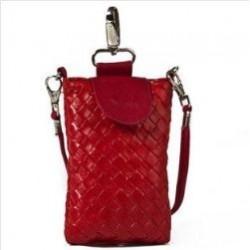 Lækker rød læder mobiltaske