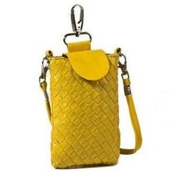 Lækker gul læder mobiltaske