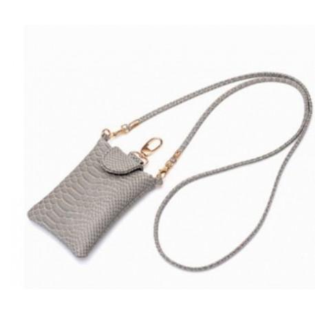 Grå mobiltaske i imiteret slangeskind