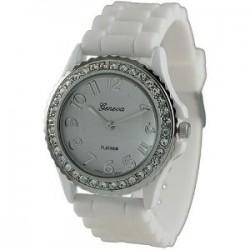 Hvid silikone ur med sølv og similisten