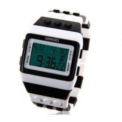 Multi farvet ur med digital display og hvid ramme