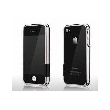 iPhone 4 / iPhone 4S bumper i sølv inkl. skærmbeskytter til front og bagside