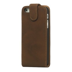 iPhone 5 flip cover læder- brun