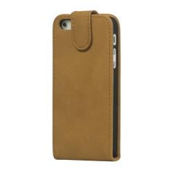 iPhone 5 flip cover læder- lys brun