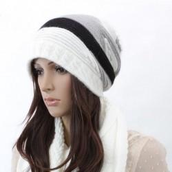 Strik hue i hvid,sort, grå- hvid
