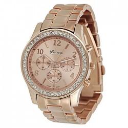 Rosaguld ur med stålrem og similisten