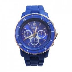 Mørkeblå plastik ur med mange detaljer