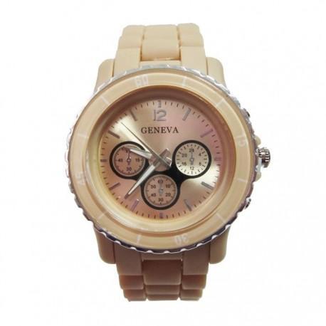 Sand farvet plastik ur med mange detaljer